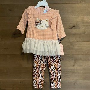 Kitty Cat Bow Glitter Tulle 2 Pc Baby Gift Set NWT